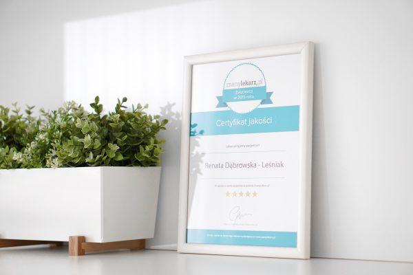 Certyfikat jakości ZnanyLekarz.pl - Laserdent - gabinet stomatologiczny - dentysta, stomatolog Opole